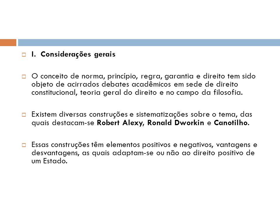 I. Considerações gerais