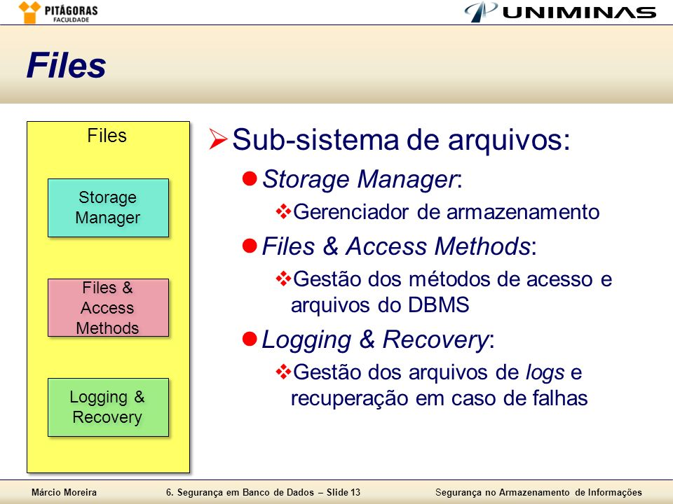 Files Sub-sistema de arquivos: Storage Manager:
