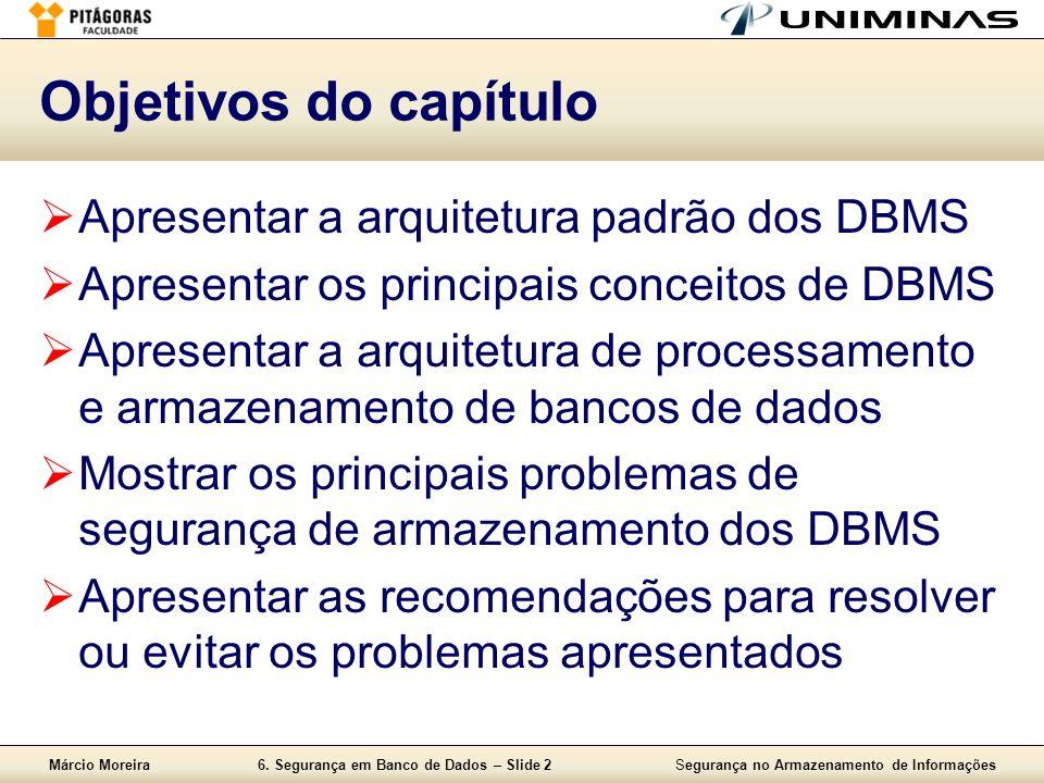 Objetivos do capítulo Apresentar a arquitetura padrão dos DBMS