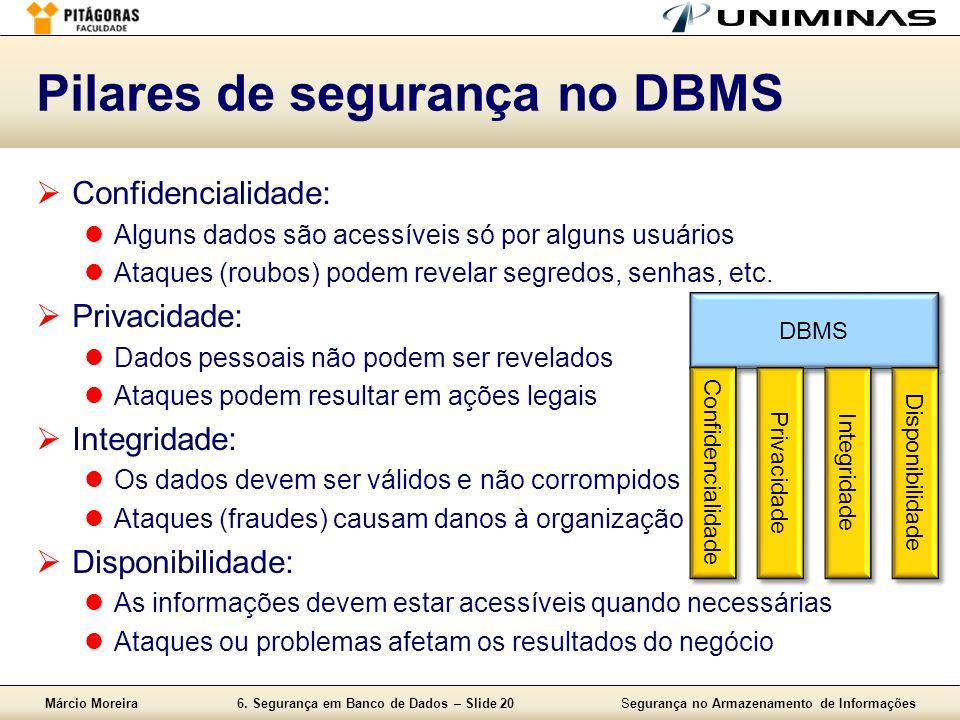 Pilares de segurança no DBMS