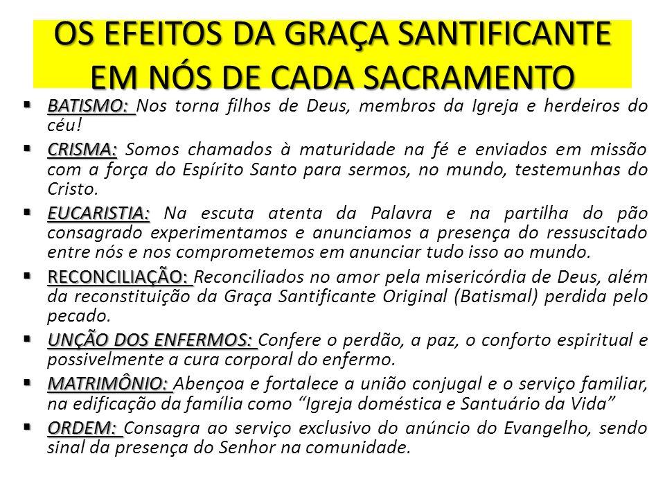 OS EFEITOS DA GRAÇA SANTIFICANTE EM NÓS DE CADA SACRAMENTO