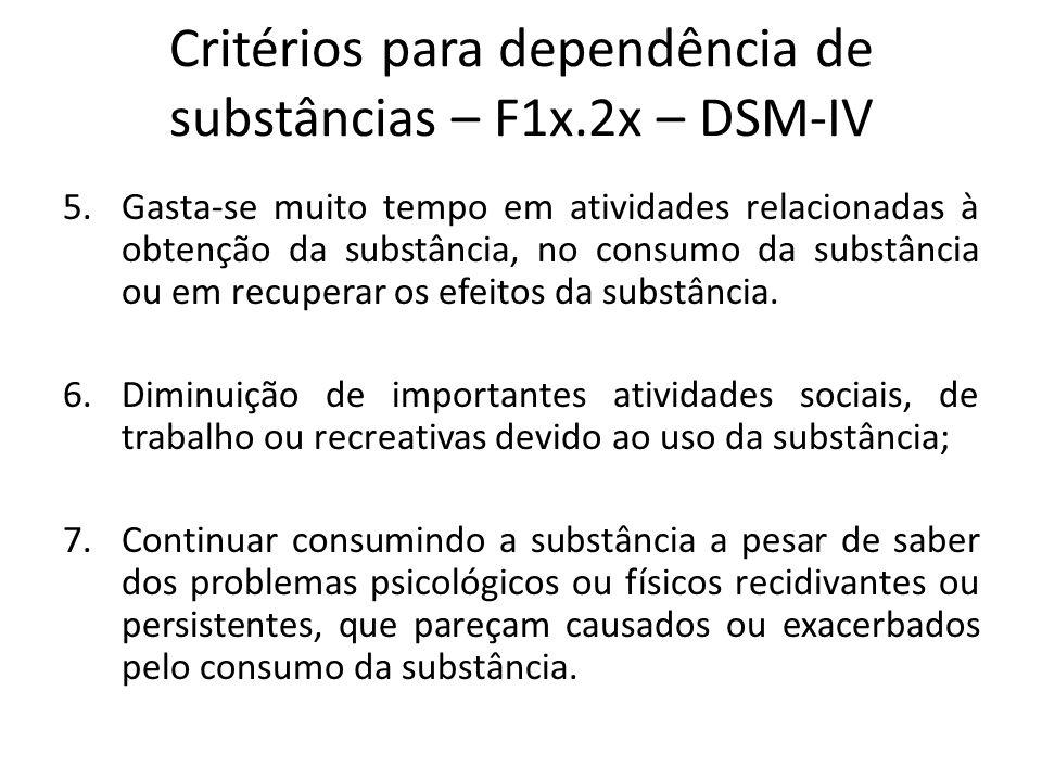 Critérios para dependência de substâncias – F1x.2x – DSM-IV