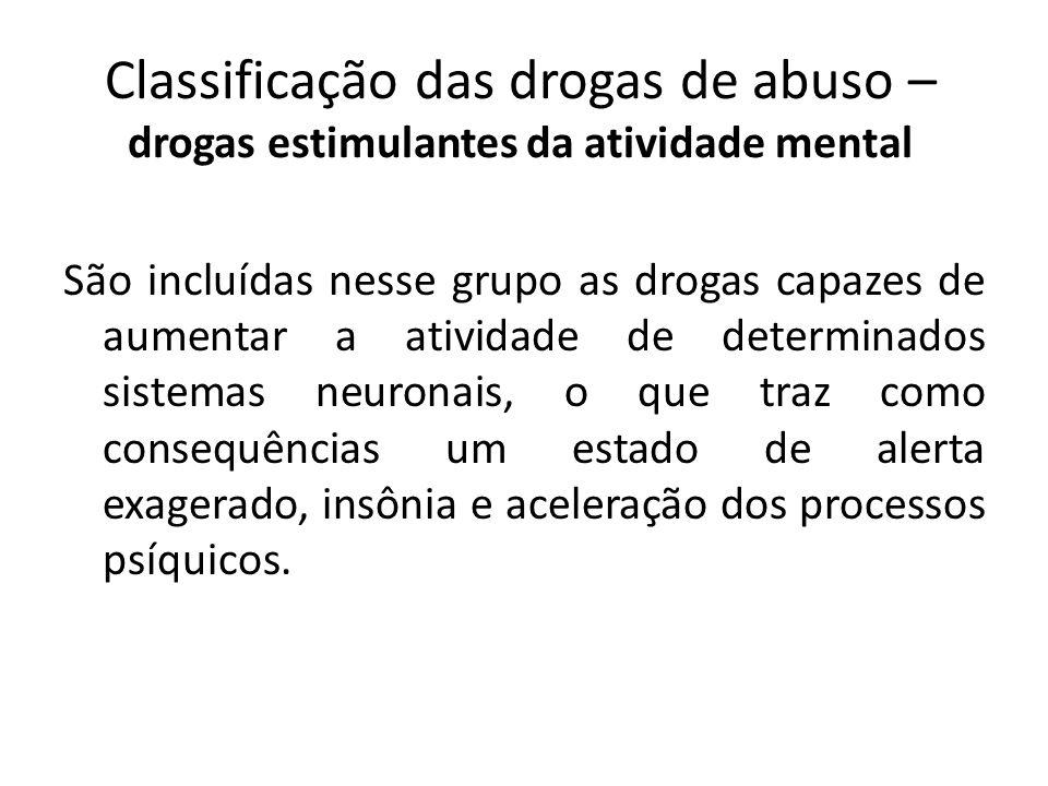 Classificação das drogas de abuso – drogas estimulantes da atividade mental