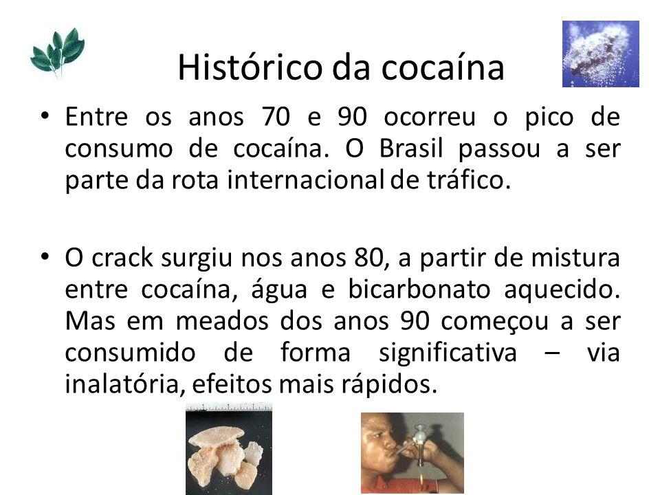 Histórico da cocaína Entre os anos 70 e 90 ocorreu o pico de consumo de cocaína. O Brasil passou a ser parte da rota internacional de tráfico.