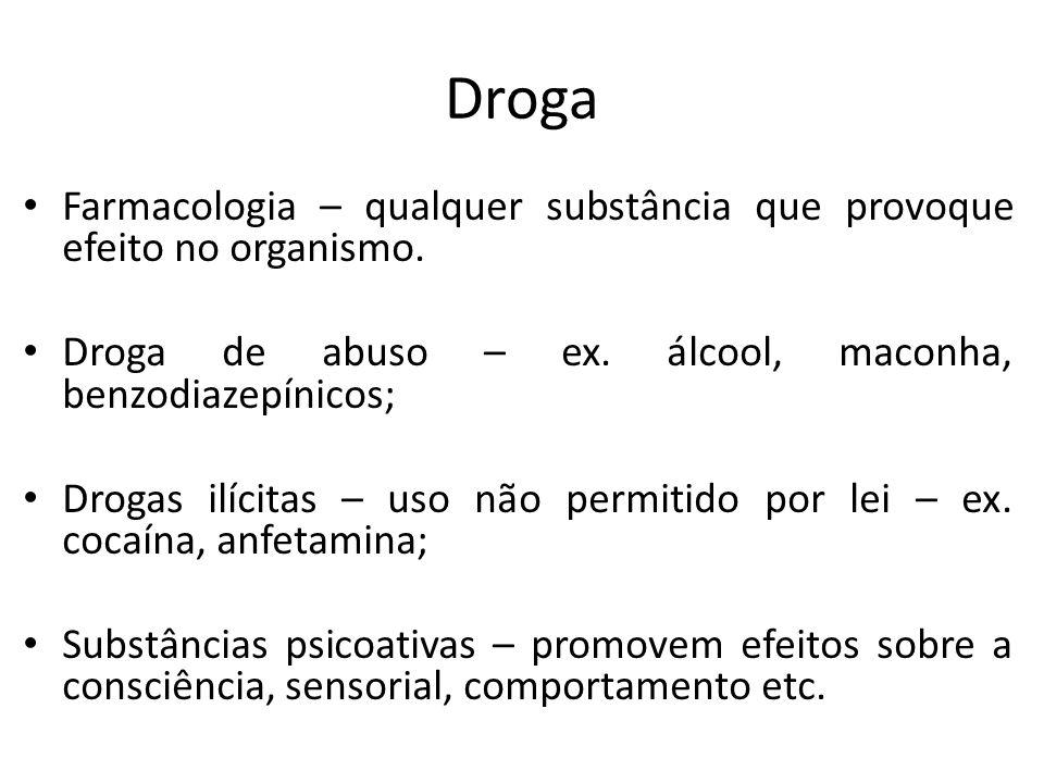 Droga Farmacologia – qualquer substância que provoque efeito no organismo. Droga de abuso – ex. álcool, maconha, benzodiazepínicos;