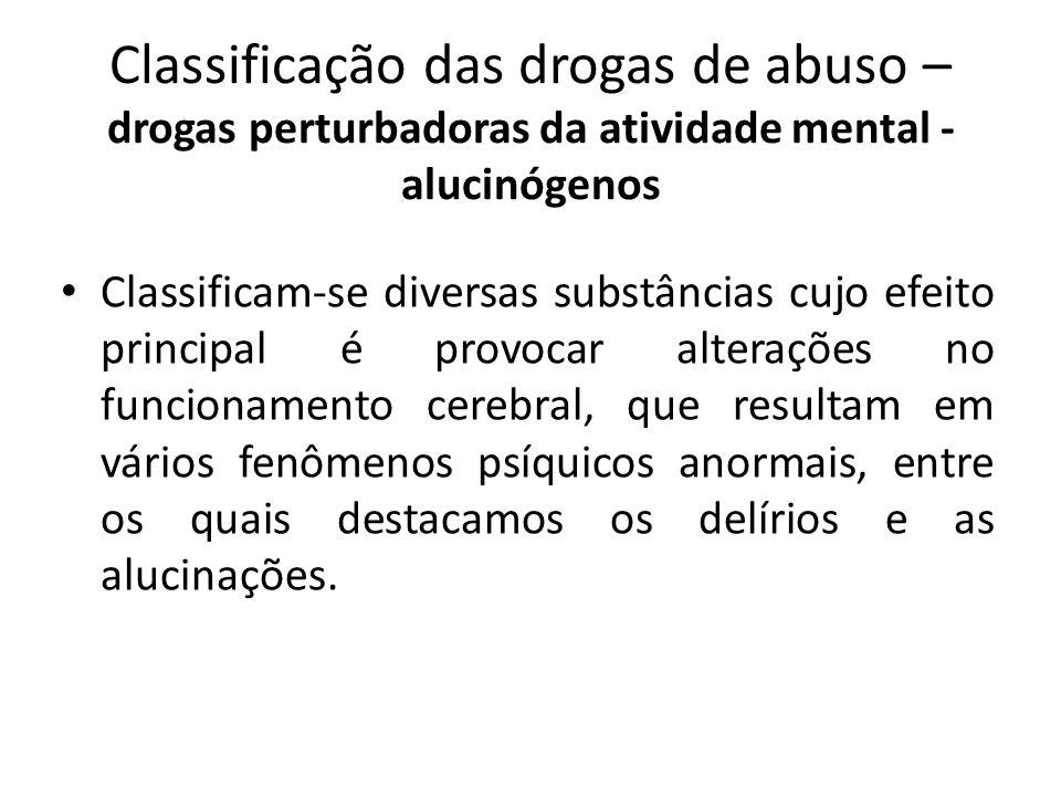 Classificação das drogas de abuso – drogas perturbadoras da atividade mental - alucinógenos