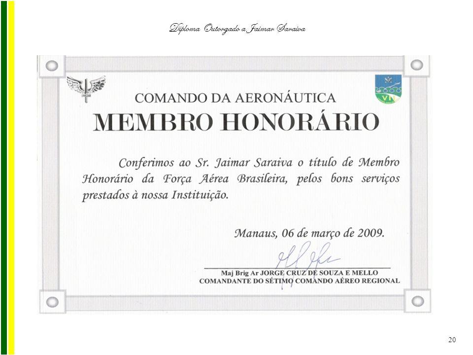 Diploma Outorgado a Jaimar Saraiva