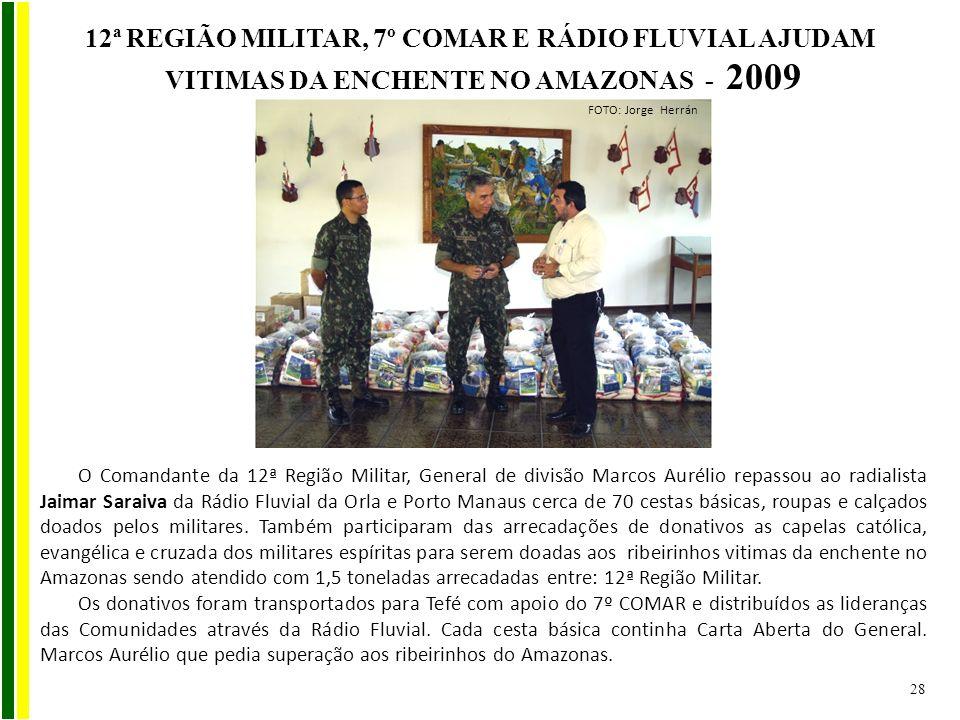 12ª REGIÃO MILITAR, 7º COMAR E RÁDIO FLUVIAL AJUDAM