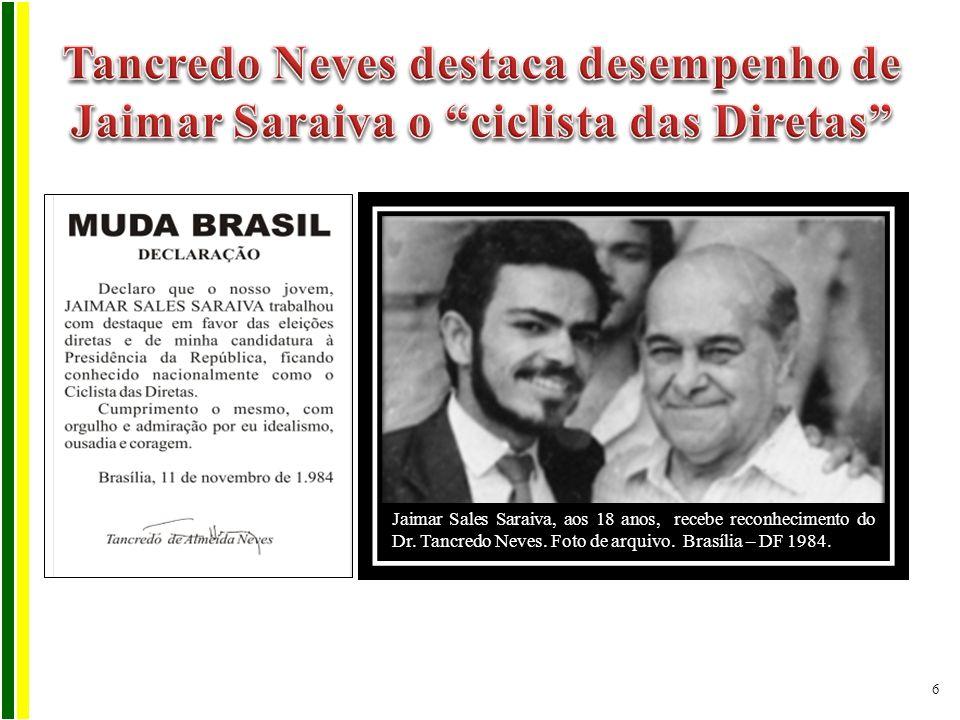Tancredo Neves destaca desempenho de Jaimar Saraiva o ciclista das Diretas