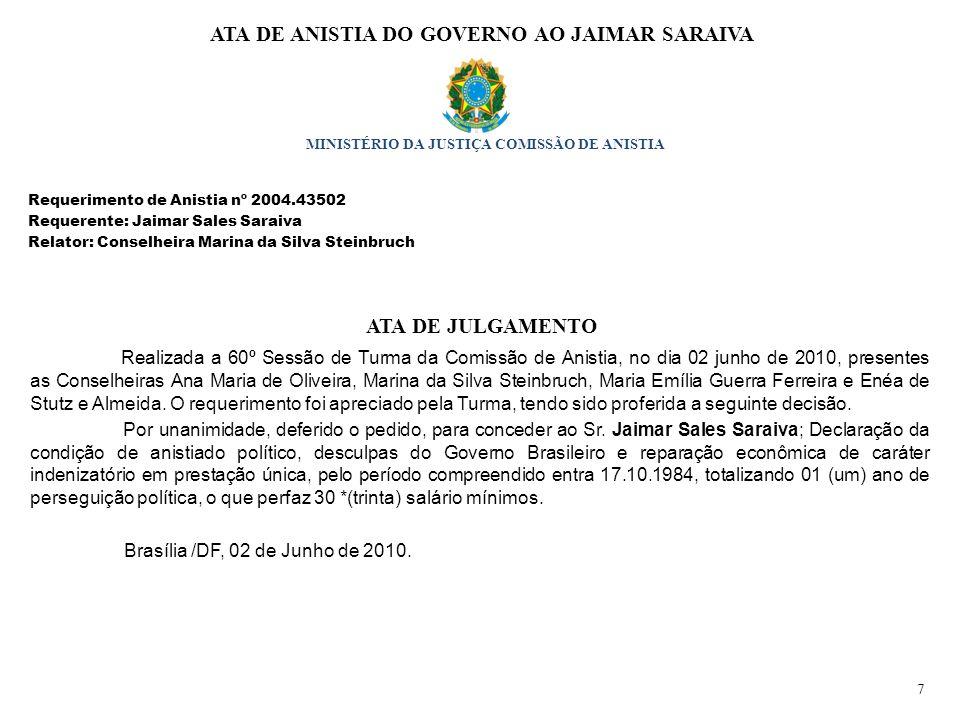 ATA DE ANISTIA DO GOVERNO AO JAIMAR SARAIVA