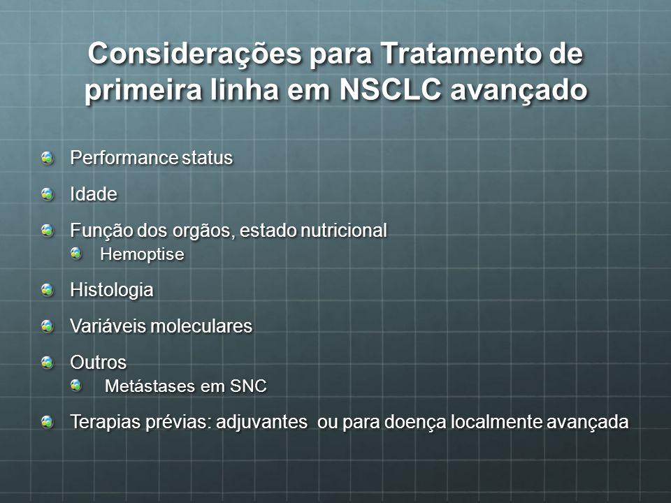 Considerações para Tratamento de primeira linha em NSCLC avançado