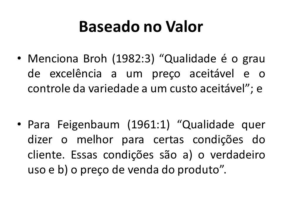 Baseado no Valor Menciona Broh (1982:3) Qualidade é o grau de excelência a um preço aceitável e o controle da variedade a um custo aceitável ; e.