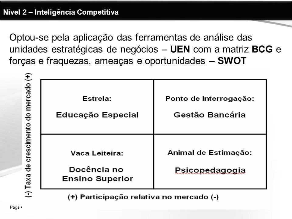 Nível 2 – Inteligência Competitiva
