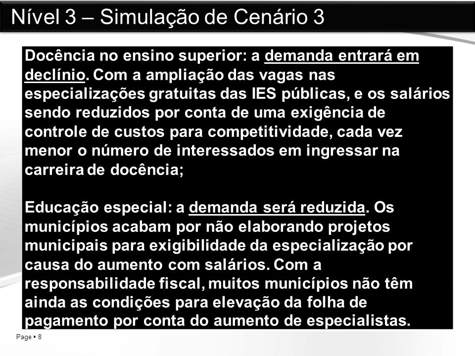 Nível 3 – Simulação de Cenário 3