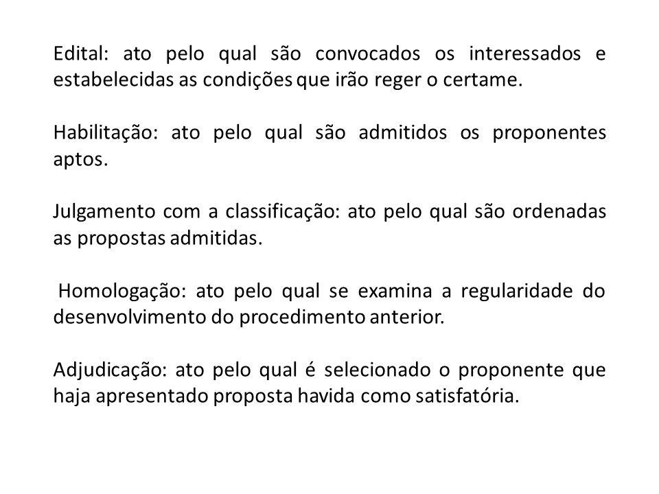 Edital: ato pelo qual são convocados os interessados e estabelecidas as condições que irão reger o certame.