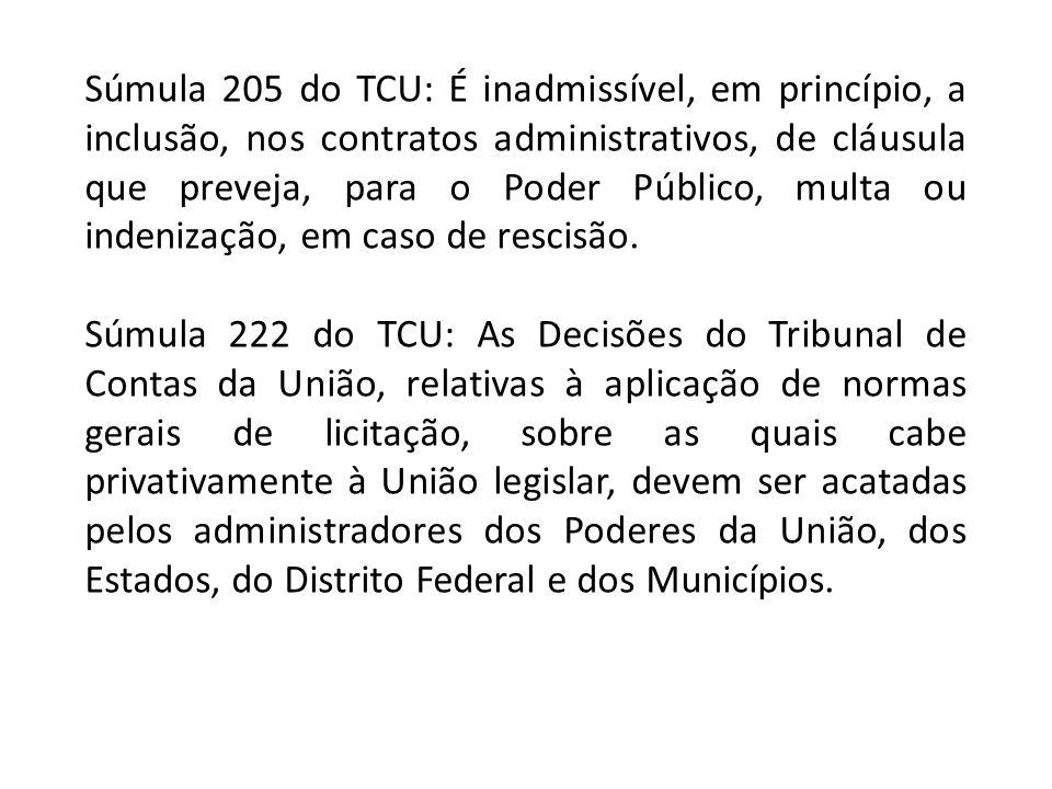 Súmula 205 do TCU: É inadmissível, em princípio, a inclusão, nos contratos administrativos, de cláusula que preveja, para o Poder Público, multa ou indenização, em caso de rescisão.