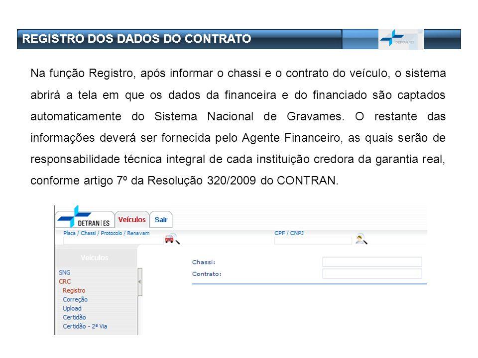REGISTRO DOS DADOS DO CONTRATO