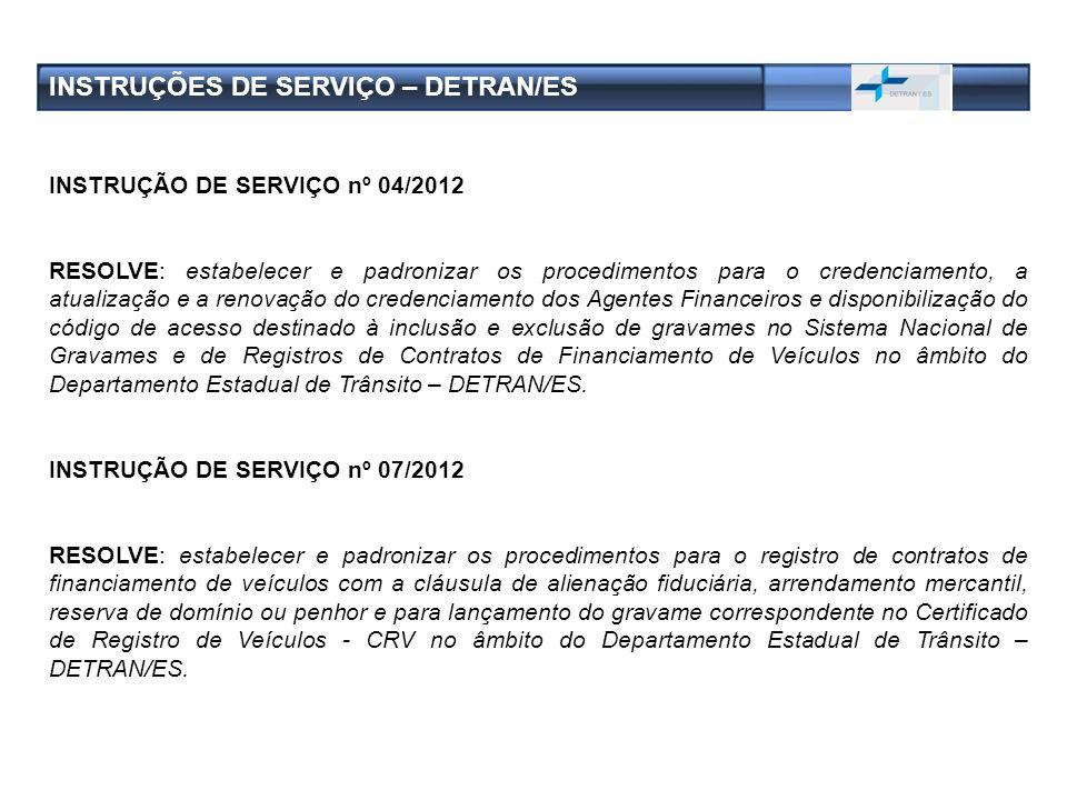 INSTRUÇÕES DE SERVIÇO – DETRAN/ES