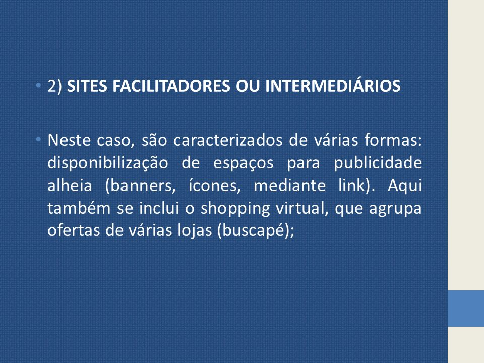 2) SITES FACILITADORES OU INTERMEDIÁRIOS
