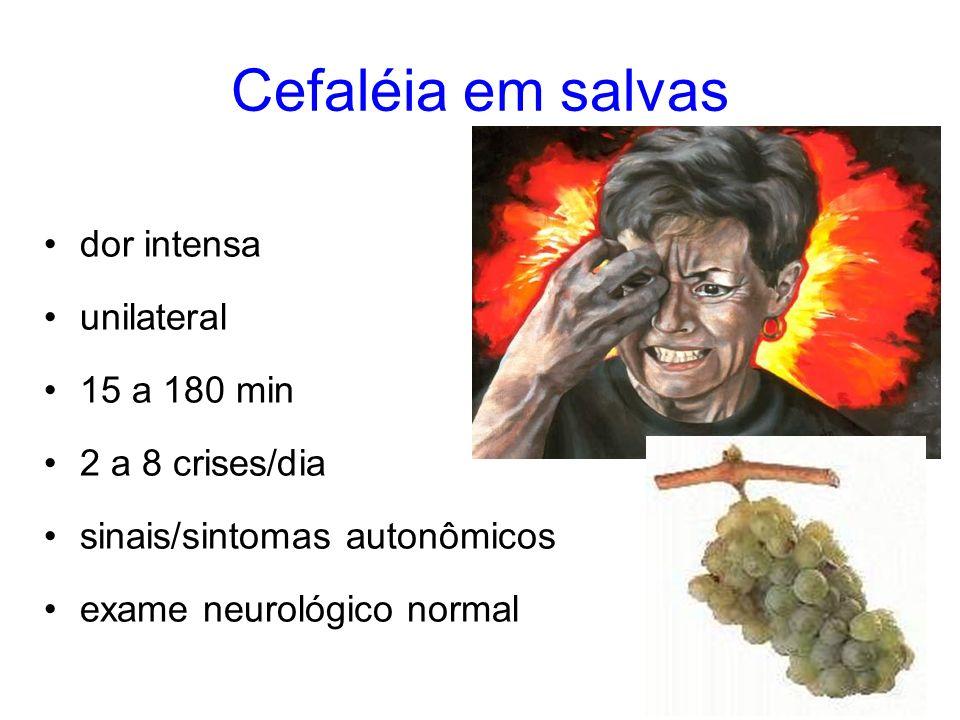 Cefaléia em salvas dor intensa unilateral 15 a 180 min