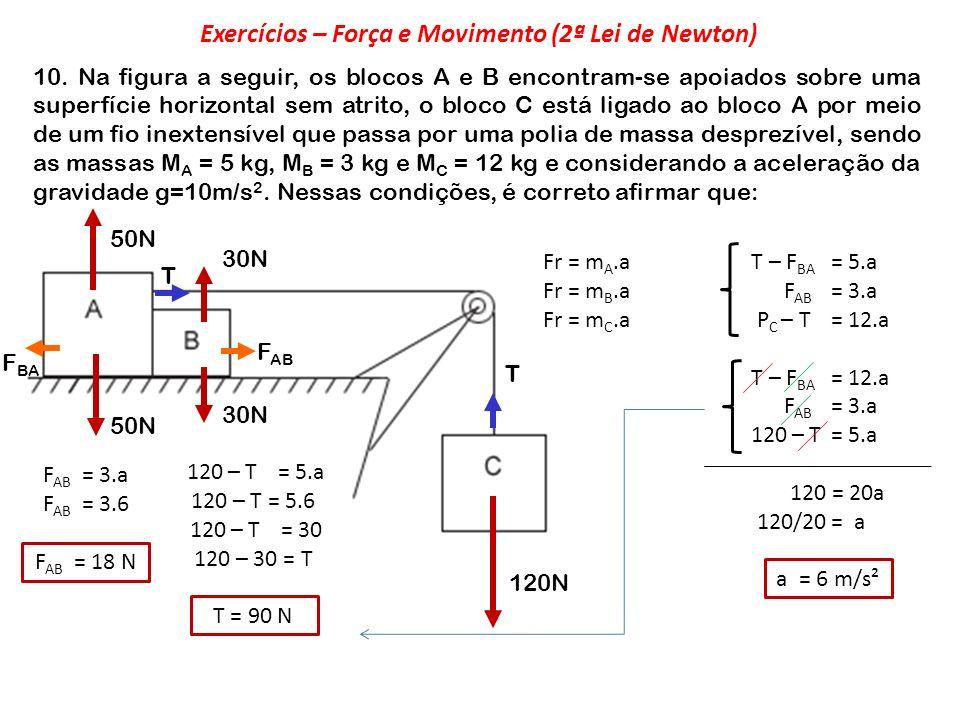 Exercícios – Força e Movimento (2ª Lei de Newton)