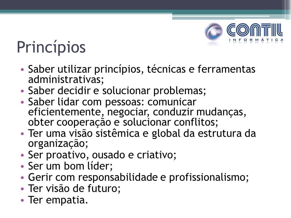 Princípios Saber utilizar princípios, técnicas e ferramentas administrativas; Saber decidir e solucionar problemas;