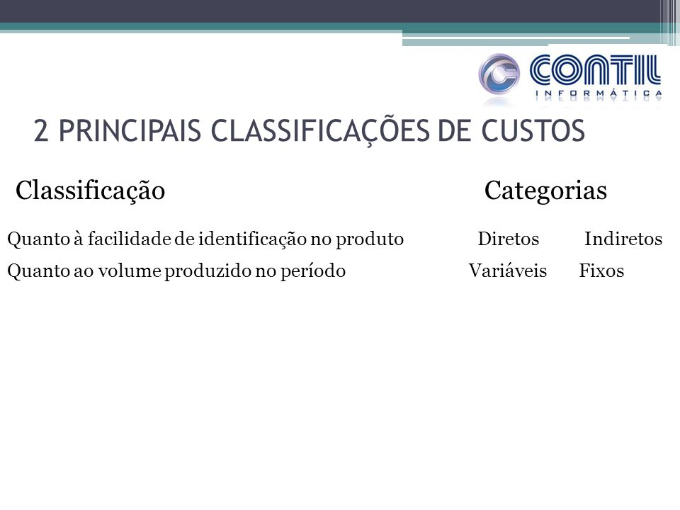 2 PRINCIPAIS CLASSIFICAÇÕES DE CUSTOS