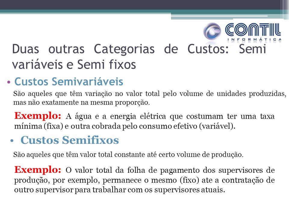 Duas outras Categorias de Custos: Semi variáveis e Semi fixos