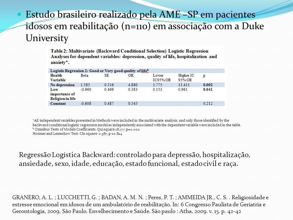 Estudo brasileiro realizado pela AME –SP em pacientes idosos em reabilitação (n=110) em associação com a Duke University