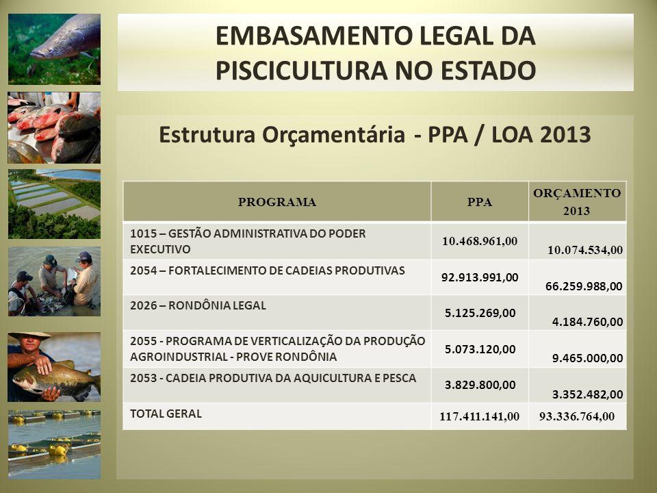 PISCICULTURA NO ESTADO Estrutura Orçamentária - PPA / LOA 2013