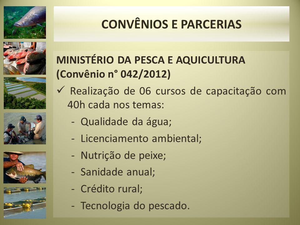 CONVÊNIOS E PARCERIAS MINISTÉRIO DA PESCA E AQUICULTURA (Convênio n° 042/2012) Realização de 06 cursos de capacitação com 40h cada nos temas: