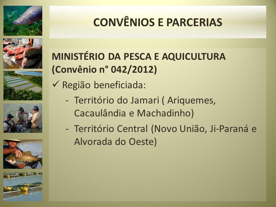 CONVÊNIOS E PARCERIAS MINISTÉRIO DA PESCA E AQUICULTURA (Convênio n° 042/2012) Região beneficiada: