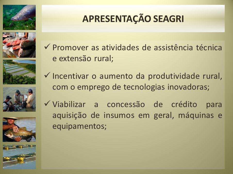 APRESENTAÇÃO SEAGRI Promover as atividades de assistência técnica e extensão rural;