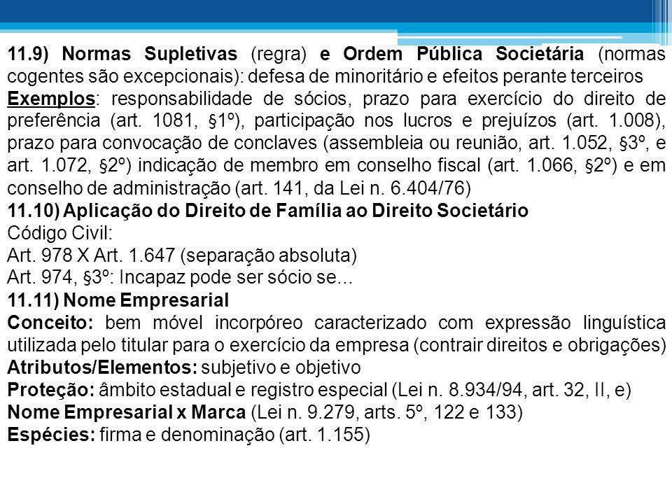 11.9) Normas Supletivas (regra) e Ordem Pública Societária (normas cogentes são excepcionais): defesa de minoritário e efeitos perante terceiros