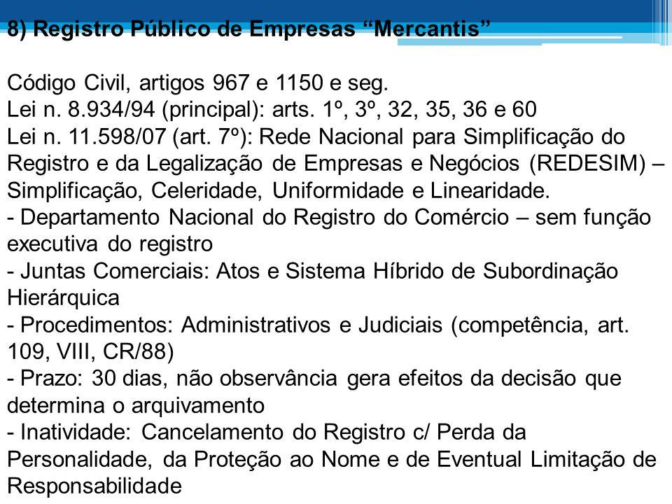 8) Registro Público de Empresas Mercantis