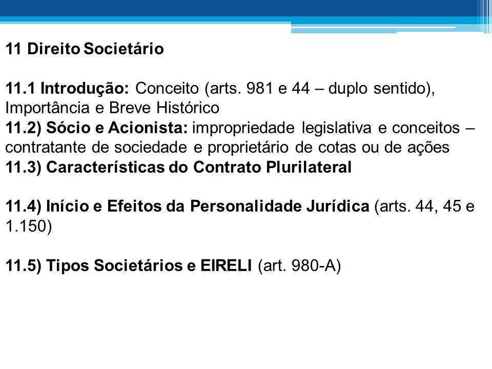 11 Direito Societário 11.1 Introdução: Conceito (arts. 981 e 44 – duplo sentido), Importância e Breve Histórico.