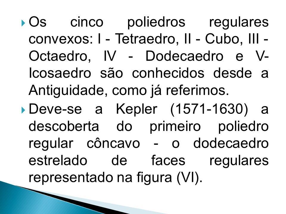 Os cinco poliedros regulares convexos: I - Tetraedro, II - Cubo, III - Octaedro, IV - Dodecaedro e V- Icosaedro são conhecidos desde a Antiguidade, como já referimos.