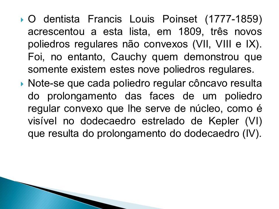 O dentista Francis Louis Poinset (1777-1859) acrescentou a esta lista, em 1809, três novos poliedros regulares não convexos (VII, VIII e IX). Foi, no entanto, Cauchy quem demonstrou que somente existem estes nove poliedros regulares.