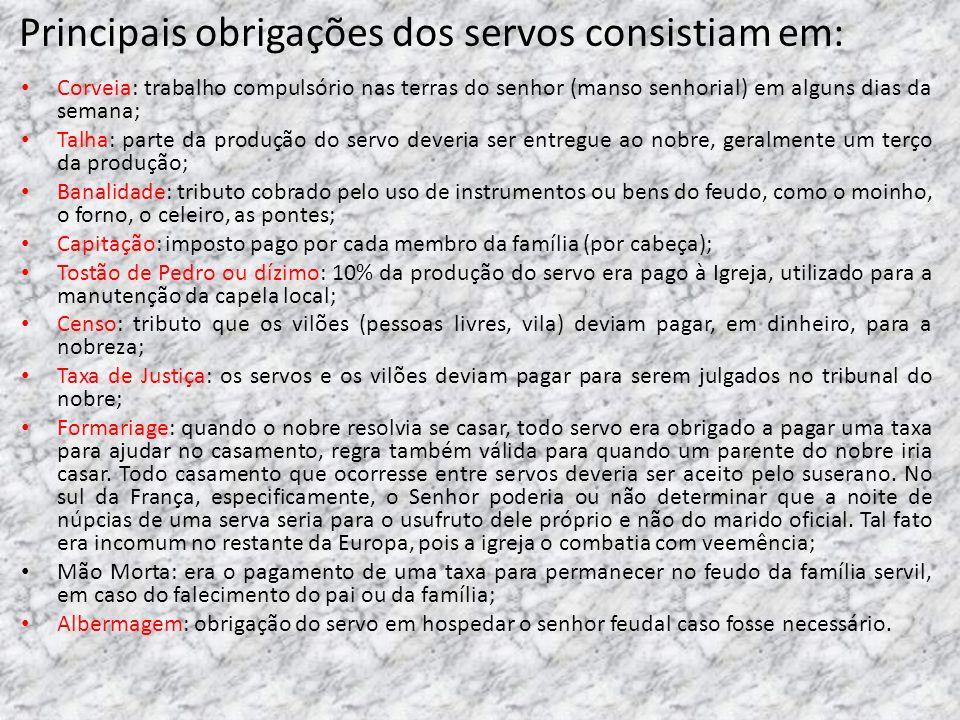 Principais obrigações dos servos consistiam em: