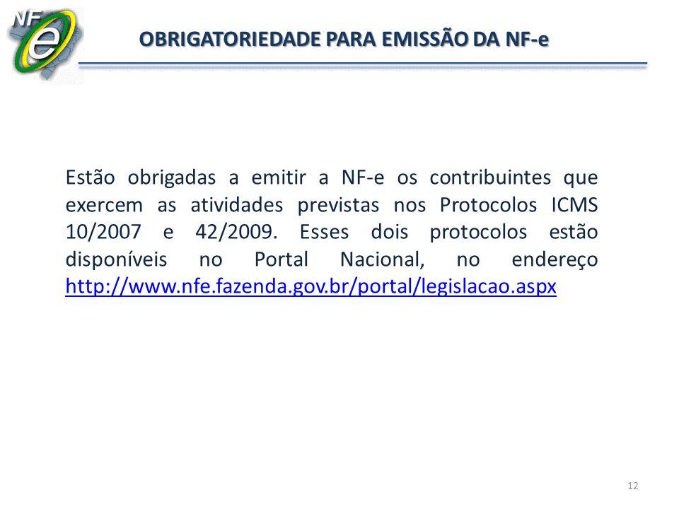 OBRIGATORIEDADE PARA EMISSÃO DA NF-e