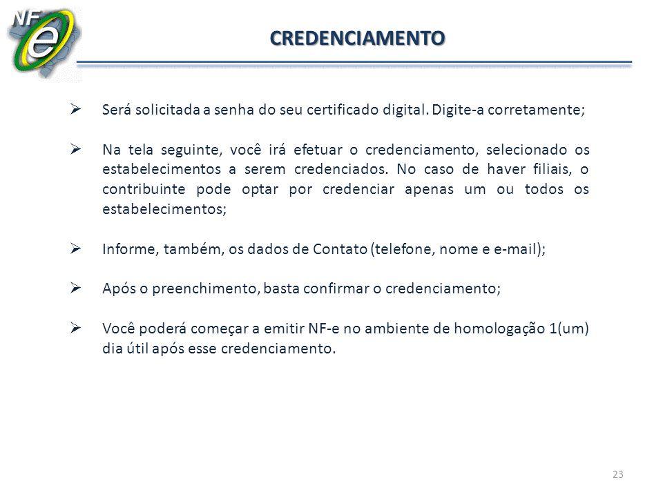 CREDENCIAMENTO Será solicitada a senha do seu certificado digital. Digite-a corretamente;