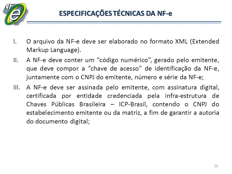 ESPECIFICAÇÕES TÉCNICAS DA NF-e