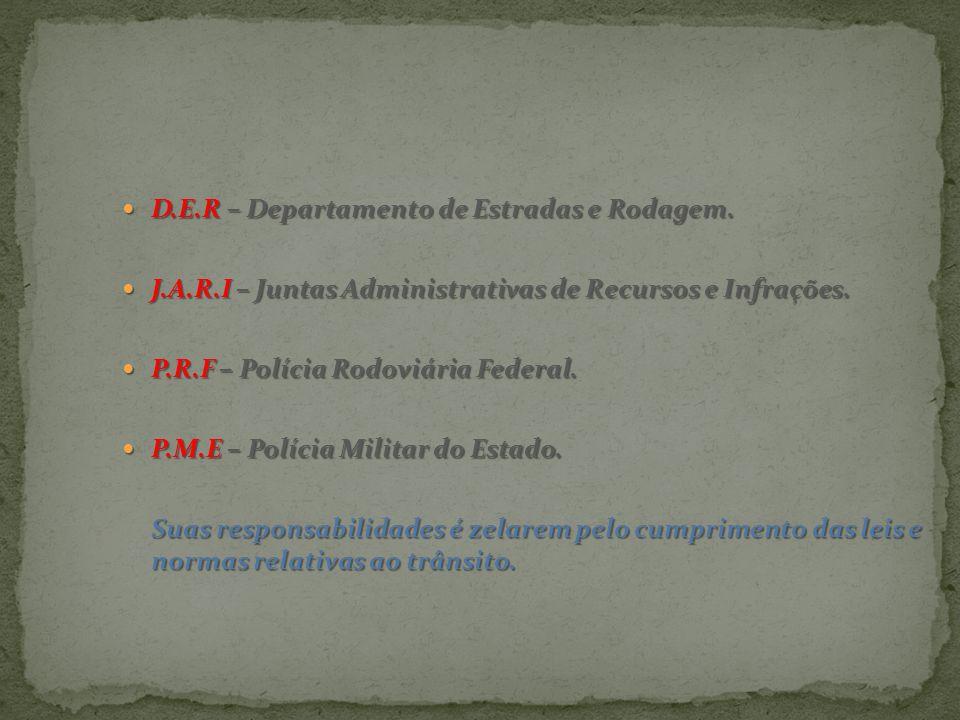 D.E.R – Departamento de Estradas e Rodagem.