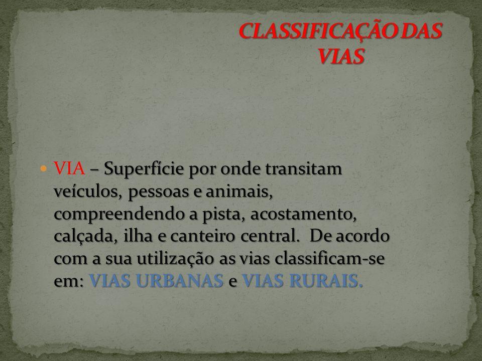 CLASSIFICAÇÃO DAS VIAS
