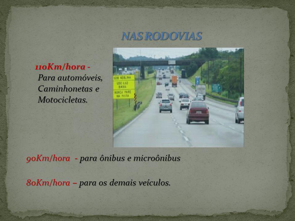 NAS RODOVIAS 110Km/hora - Para automóveis, Caminhonetas e
