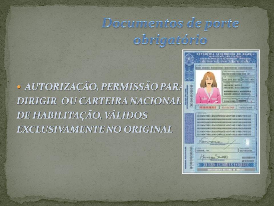 Documentos de porte obrigatório