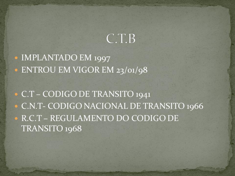 C.T.B IMPLANTADO EM 1997 ENTROU EM VIGOR EM 23/01/98