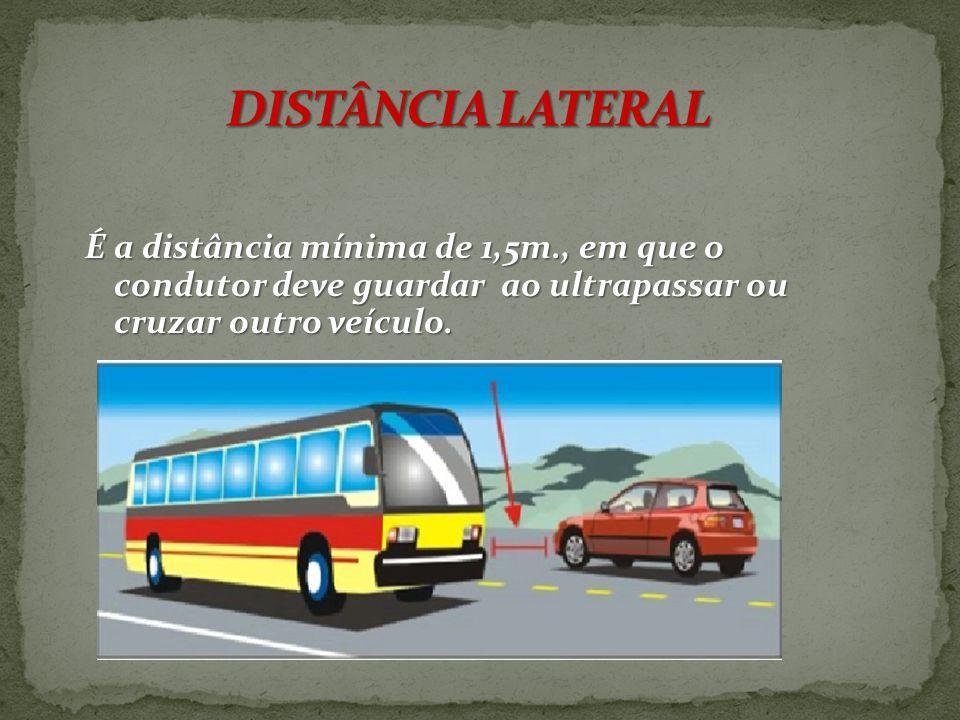 DISTÂNCIA LATERAL É a distância mínima de 1,5m., em que o condutor deve guardar ao ultrapassar ou cruzar outro veículo.