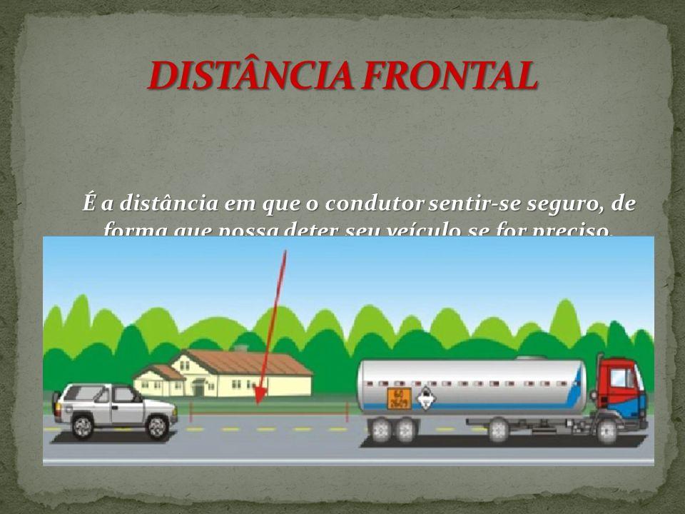 DISTÂNCIA FRONTAL É a distância em que o condutor sentir-se seguro, de forma que possa deter seu veículo se for preciso.
