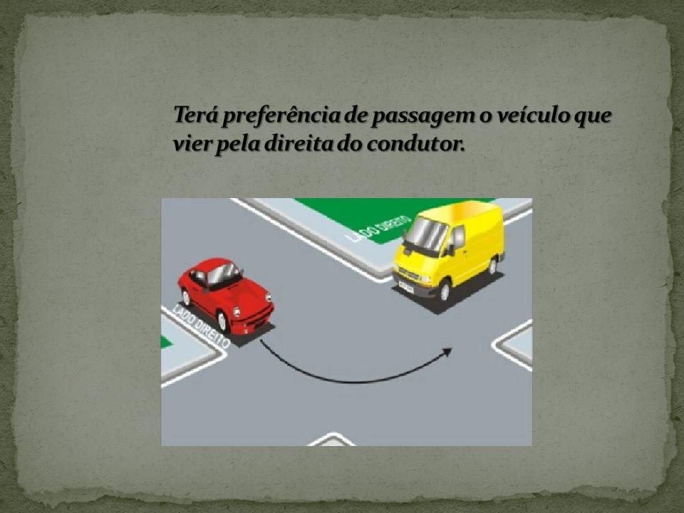Terá preferência de passagem o veículo que vier pela direita do condutor.